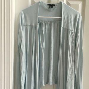 Soft blue draped open sweater cardigan medium